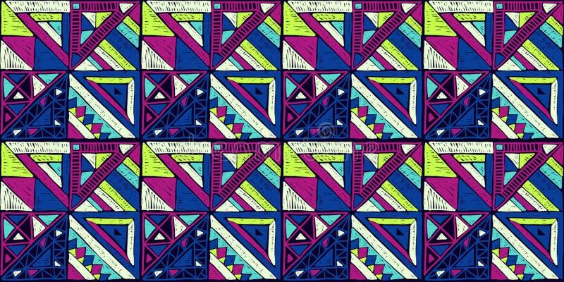 Naadloos Afrikaans Patroon Etnisch ornament op het tapijt Azteekse stijl Cijfer stammenborduurwerk Indisch, Mexicaans, volkspatro royalty-vrije illustratie