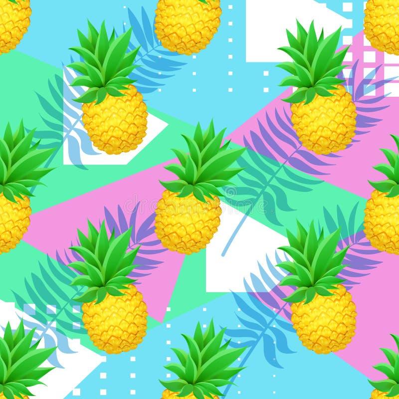 Naadloos ANANAS tropisch patroon met palmbladen op geometrische achtergrond Realistische beeldverhaalananassen royalty-vrije illustratie