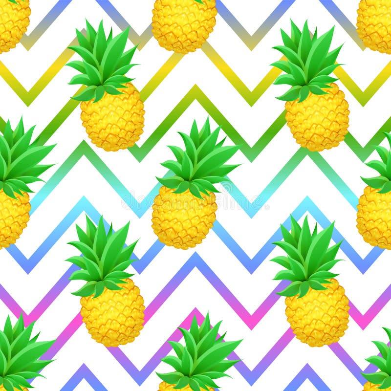 Naadloos ANANAS tropisch patroon op de geometrische achtergrond van de zigzaglijn vector illustratie