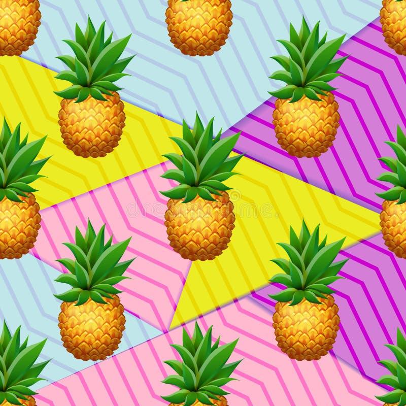 Naadloos ANANAS tropisch patroon op geometriclachtergrond Realistische beeldverhaalananassen royalty-vrije illustratie
