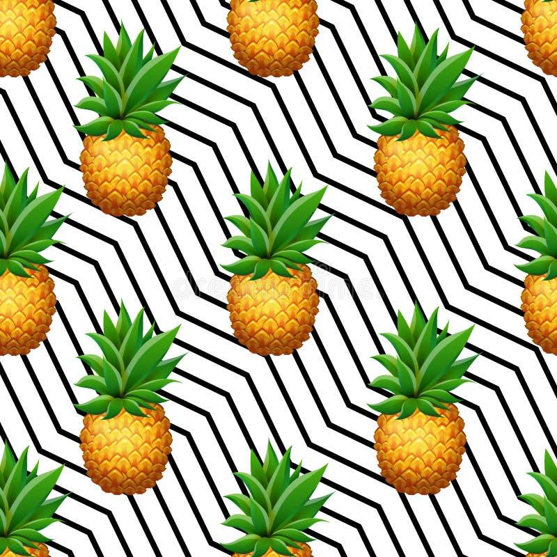 Naadloos ANANAS tropisch patroon op geometrische lijnachtergrond Realistische beeldverhaalananassen stock illustratie