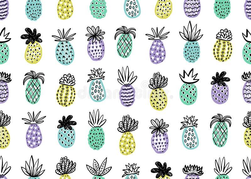 Naadloos Ananaspatroon Handdrawn Ananas met verschillende texturen in pastelkleuren Exotische vruchten achtergrond voor royalty-vrije illustratie