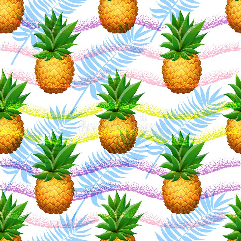Naadloos Ananaspatroon Realistische beeldverhaalananassen op hand getrokken borstelachtergrond stock illustratie