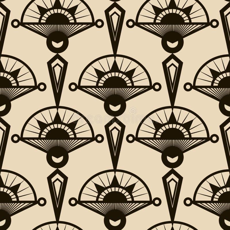 Naadloos antiek patroonornament Geometrische art deco modieuze bedelaars royalty-vrije illustratie