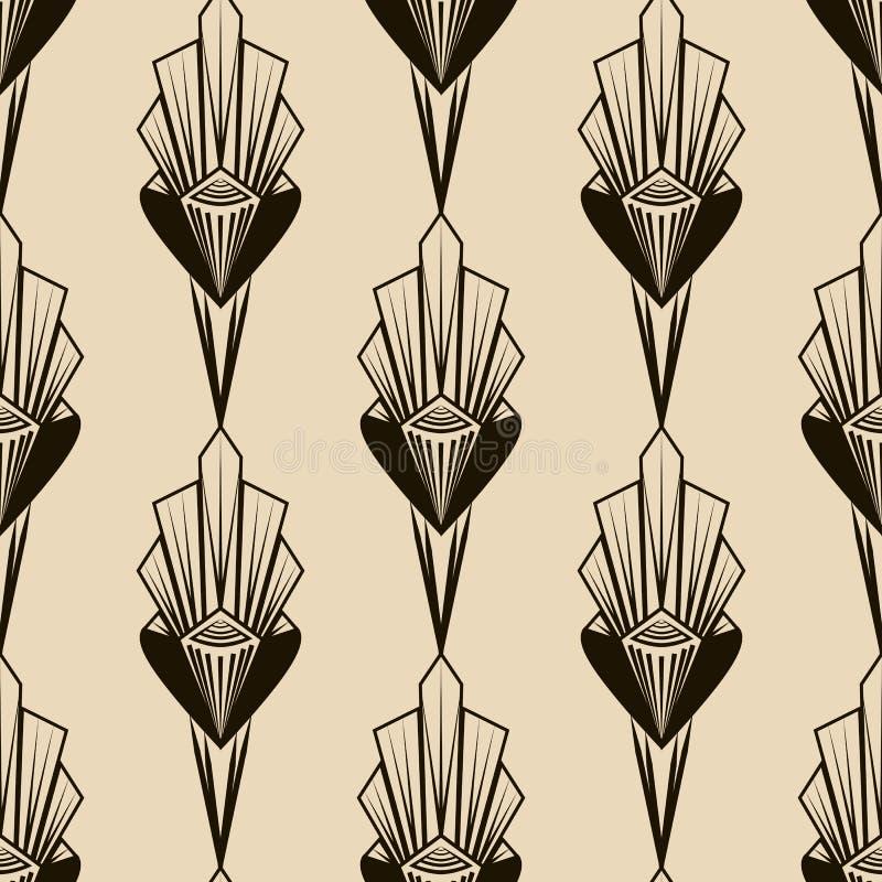 Naadloos antiek patroonornament Geometrische art deco modieuze bedelaars stock illustratie