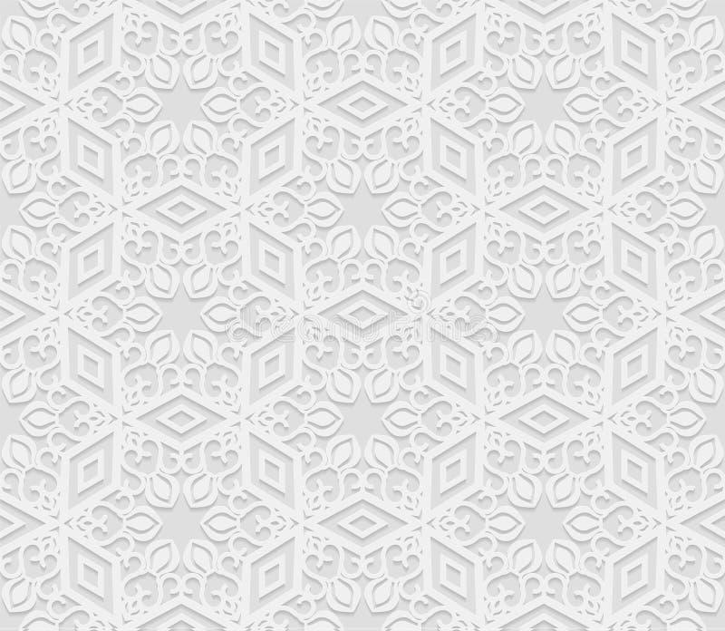 Naadloos Arabisch geometrisch patroon, 3D witte achtergrond, Indisch ornament vector illustratie