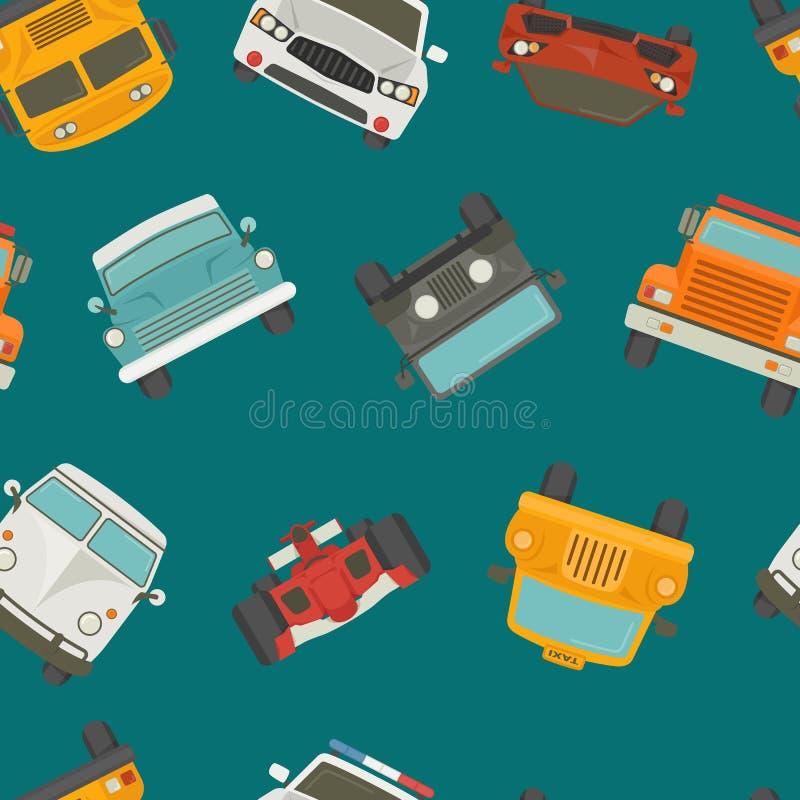 Naadloos auto'sachtergrond en patroon stock illustratie