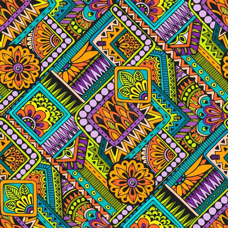 Naadloos Aziatisch etnisch bloemen retro krabbelpatroon als achtergrond in vector De mehndikrabbels van hennapaisley ontwerpen st stock illustratie