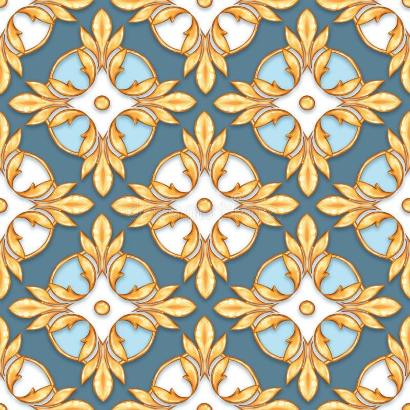 Naadloos barok patroon 30 stock afbeelding