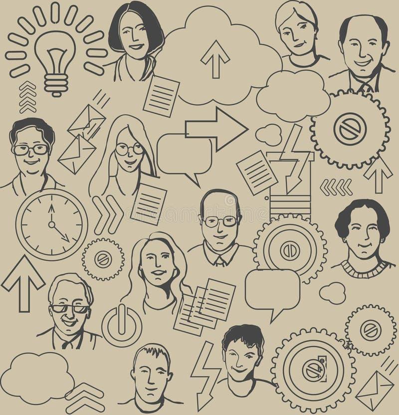 Naadloos bedrijfspatroon met mensen en pictogrammen  stock illustratie