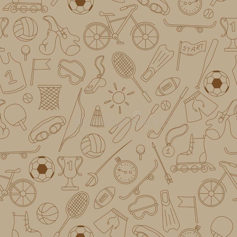Naadloos beeld met eenvoudige pictogrammen op het thema van de zomersporten royalty-vrije illustratie