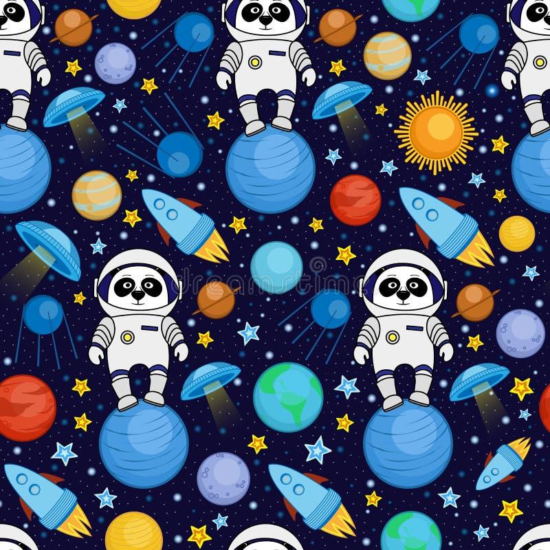 Naadloos beeldverhaal ruimtepatroon - pandaastronaut, ruimteschip, planeten, satellieten vector illustratie