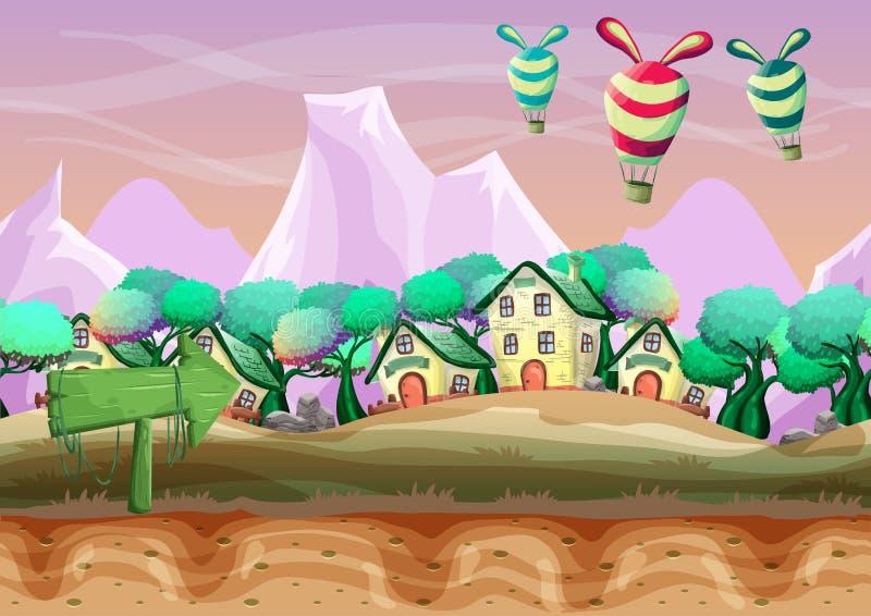 Naadloos beeldverhaal vectorlandschap met gescheiden lagen voor spel en animatie stock illustratie