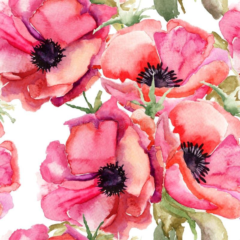 Naadloos behang met de zomerbloemen royalty-vrije illustratie