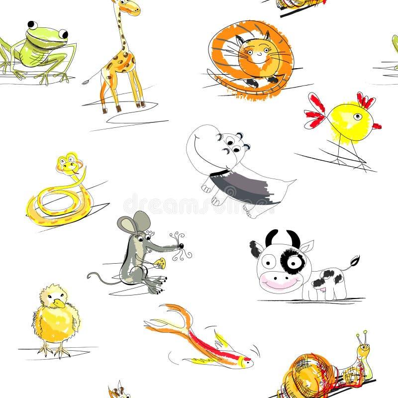 Naadloos behang met dieren vector illustratie