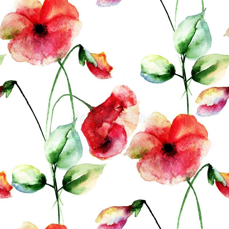 Naadloos behang met Kleurrijke Papaversbloemen royalty-vrije illustratie