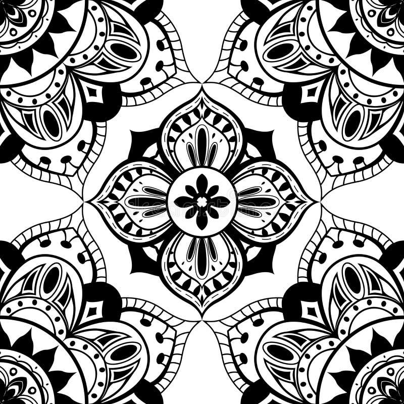 Naadloos behang met oosters symmetrisch patroon stock illustratie
