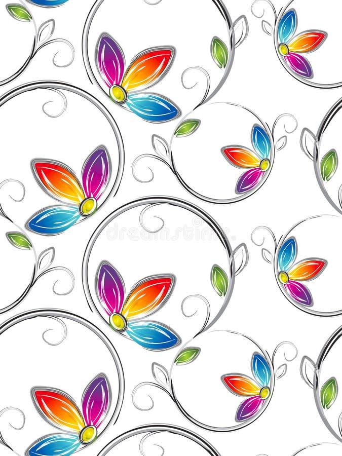 Naadloos behang van artstic bloemen stock illustratie