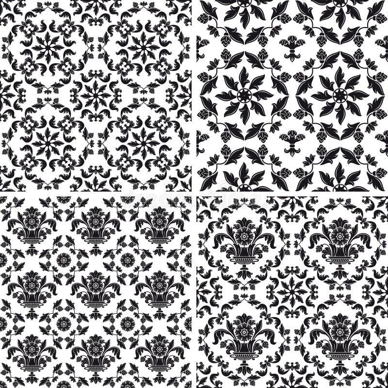 Naadloos behangpatroon bloemen, zwart-wit royalty-vrije illustratie