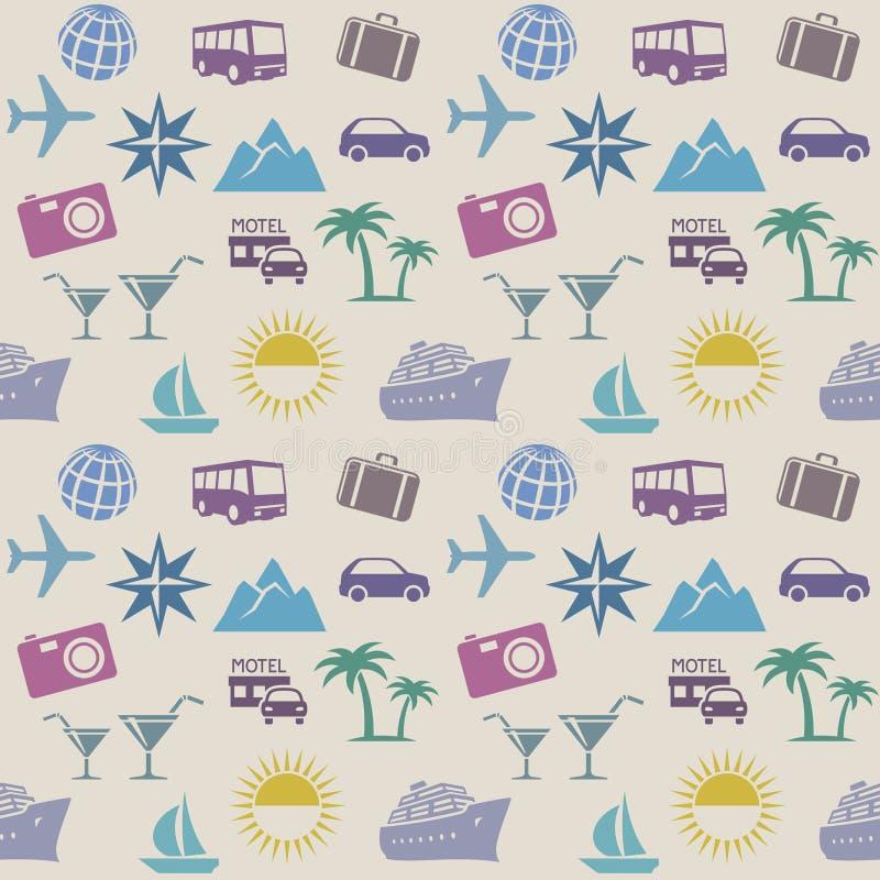 Naadloos behangpatroon met reispictogrammen royalty-vrije illustratie