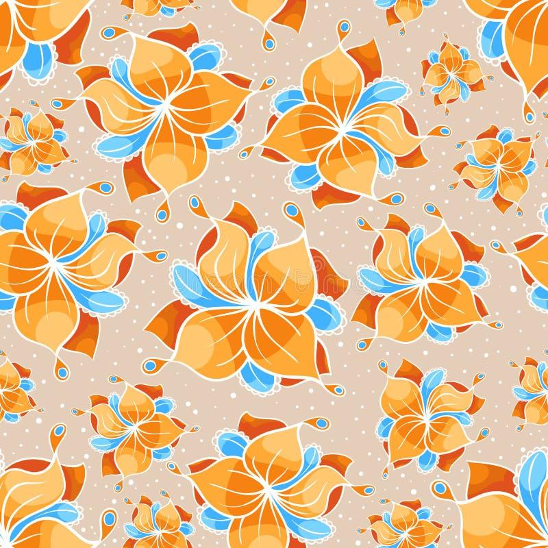 Naadloos beige bloemenpatroon stock illustratie