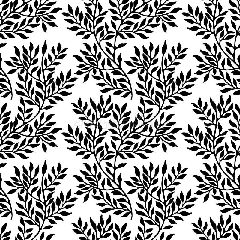Naadloos bladerrijk ornament stock illustratie