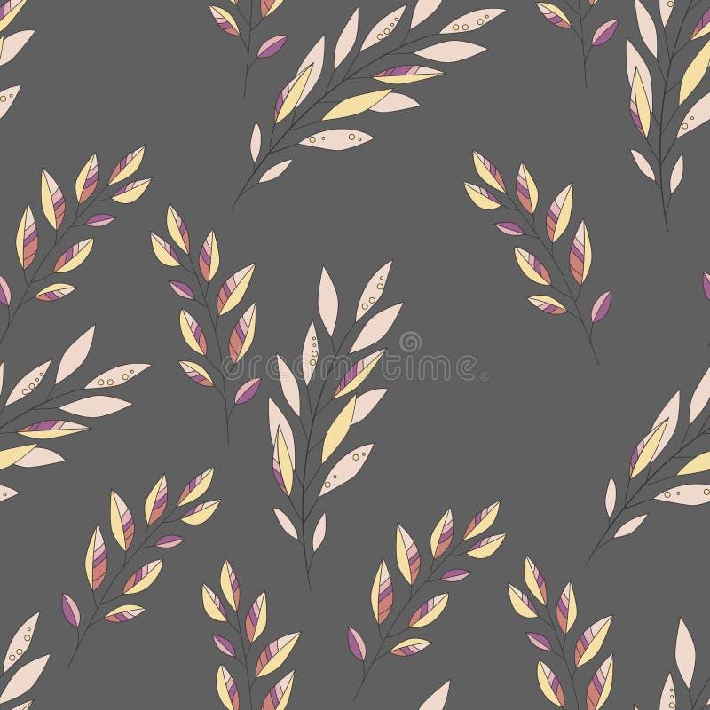 Naadloos bladpatroon Bloemen modieuze achtergrond Het kan voor prestaties van het ontwerpwerk noodzakelijk zijn stock illustratie