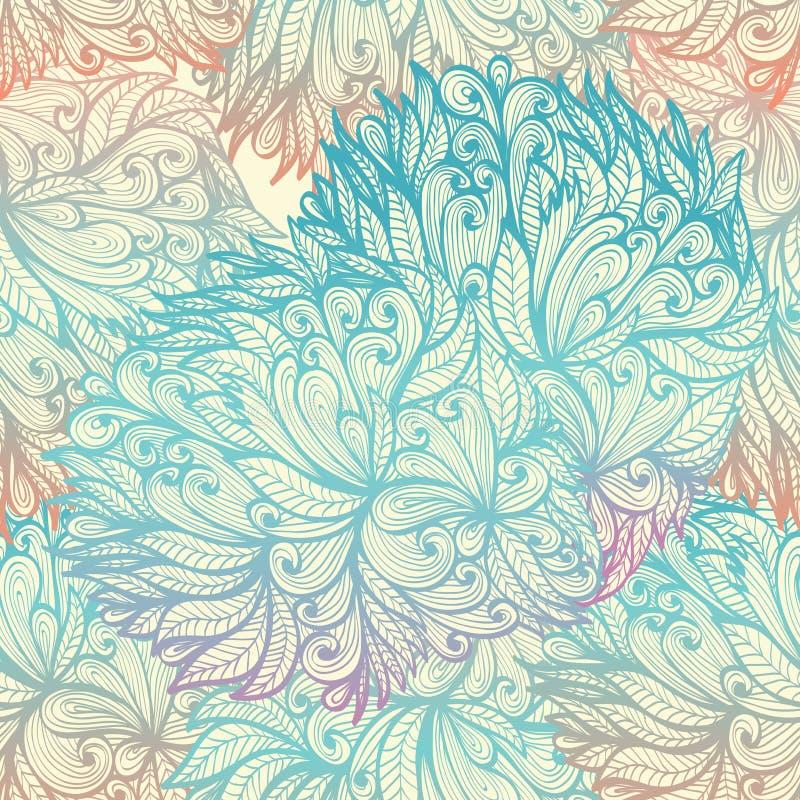 Naadloos blauw bewolkt patroon stock illustratie