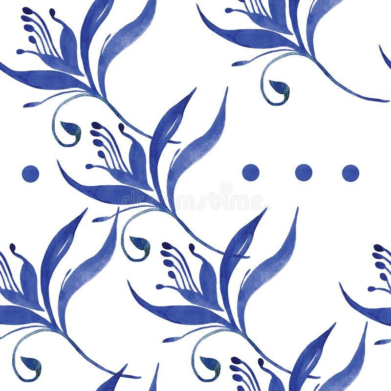 Naadloos blauw bloempatroon royalty-vrije illustratie