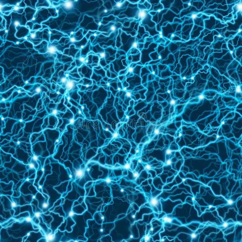 Naadloos blauw elektrisch bliksempatroon Het onweerstextuur van de flitsbout Eps 10 stock illustratie