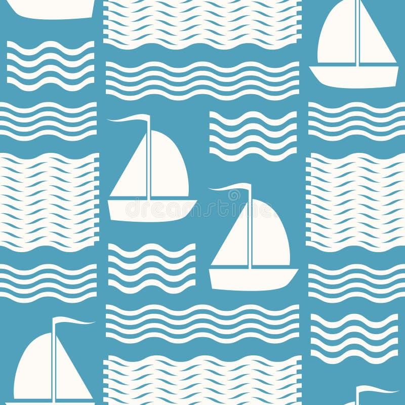 Naadloos blauw en wit overzees patroon van golven en varende schepen royalty-vrije illustratie