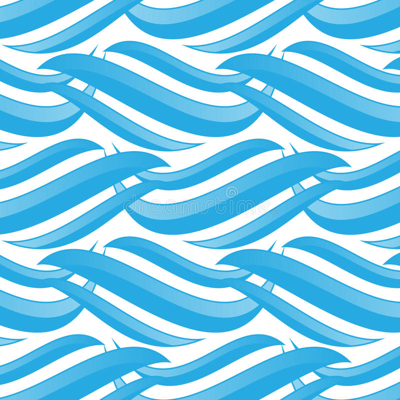 Naadloos Blauw Golvenpatroon vector illustratie