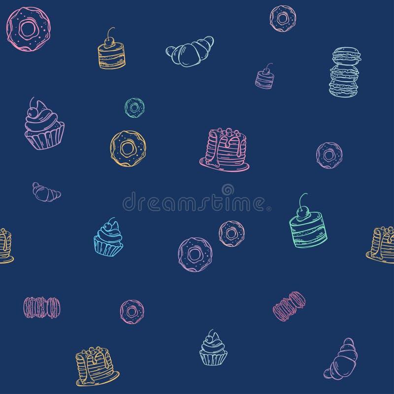 Naadloos blauw patroon met hand getrokken krabbeldesserts: donuts, cupcakes, cake, pastei, muffins royalty-vrije illustratie
