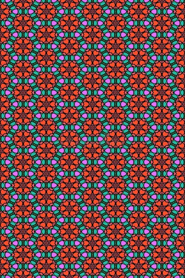 Naadloos bloem en hartenpatroon stock afbeeldingen