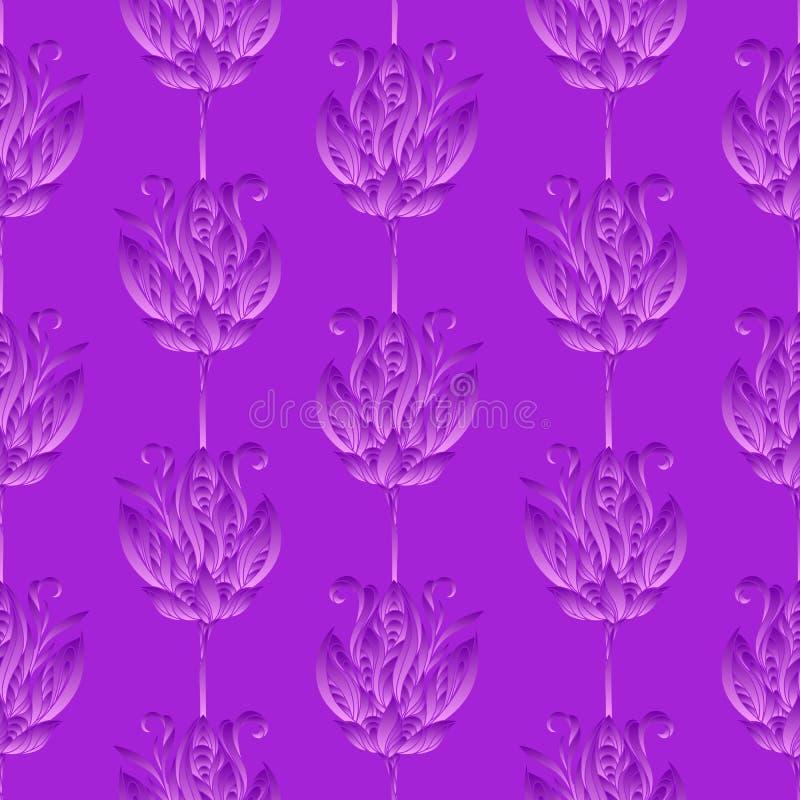 Naadloos bloemen abstract patroon Kleurrijke die zijdedruk uit roze violette bloemen op purpere achtergrond wordt samengesteld Im royalty-vrije illustratie