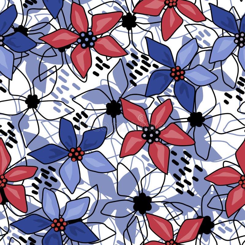 Naadloos bloemen abstract patroonwit vector illustratie