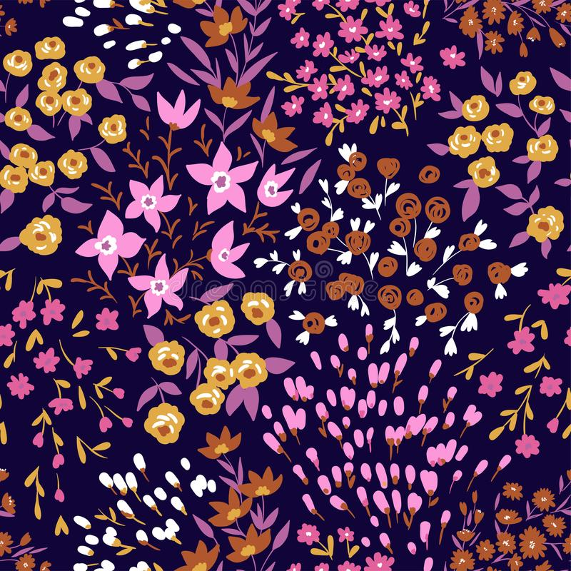 In naadloos bloemen ditsy patroon Stoffenontwerp met eenvoudige bloemen Vector naadloze achtergrond vector illustratie