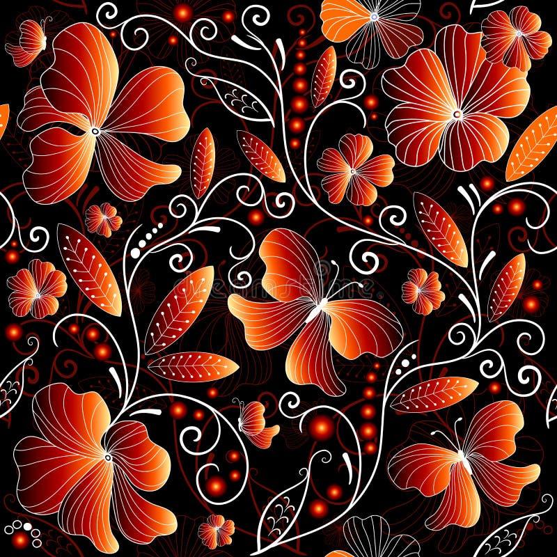 Naadloos bloemen donker patroon stock illustratie