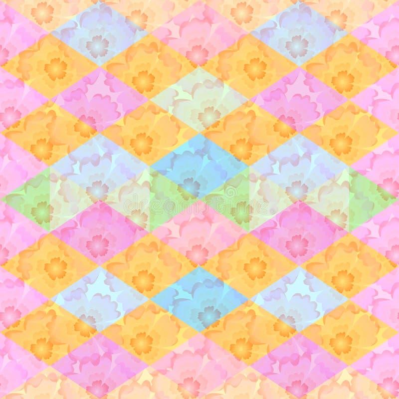 Naadloos bloemen en geometrisch patroon Achtergrond met bloemen royalty-vrije illustratie