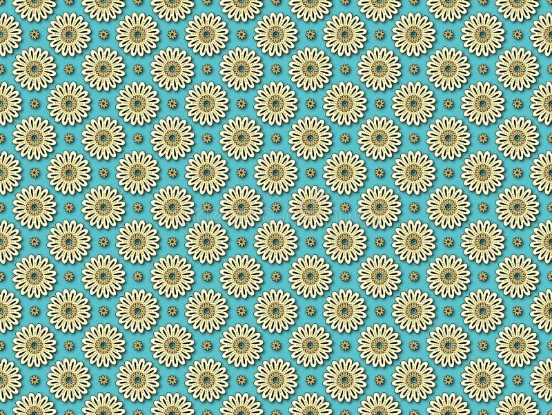 Naadloos bloemen geometrisch patroon royalty-vrije illustratie