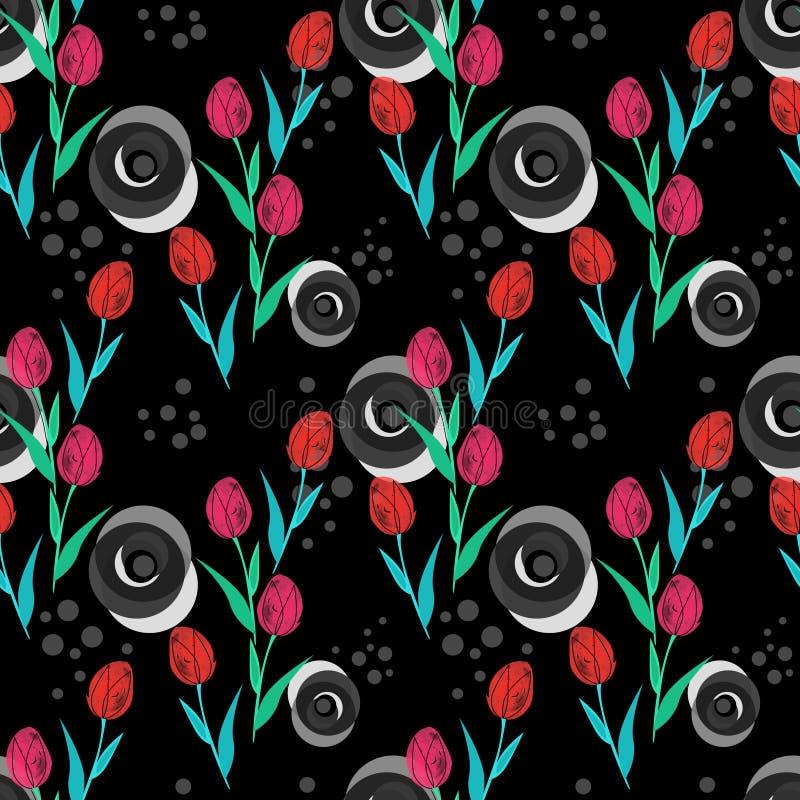 Naadloos bloemen helder abstract patroon op zwarte vector illustratie