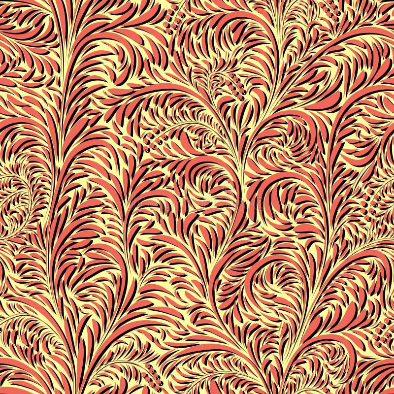Naadloos bloemen helder patroon van bladeren en bloemblaadjes met bessen royalty-vrije illustratie