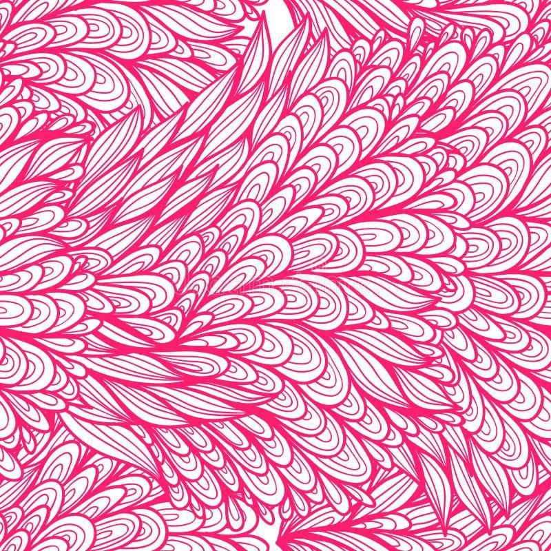 Naadloos bloemen roze en wit krabbelpatroon royalty-vrije illustratie