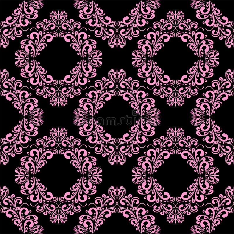 Naadloos bloemen sier roze Patroon op zwarte royalty-vrije illustratie