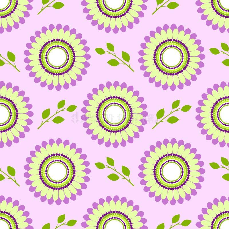 Naadloos bloemen vectorpatroon, symmetrische achtergrond met kleurrijke bloemen en groene bladeren, over lichte violette achtergr royalty-vrije illustratie