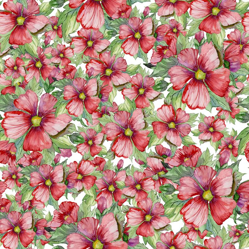 Naadloos bloemendiepatroon van rode malva bloemen op witte achtergrond wordt gemaakt Het Schilderen van de waterverf Getrokken ha stock illustratie