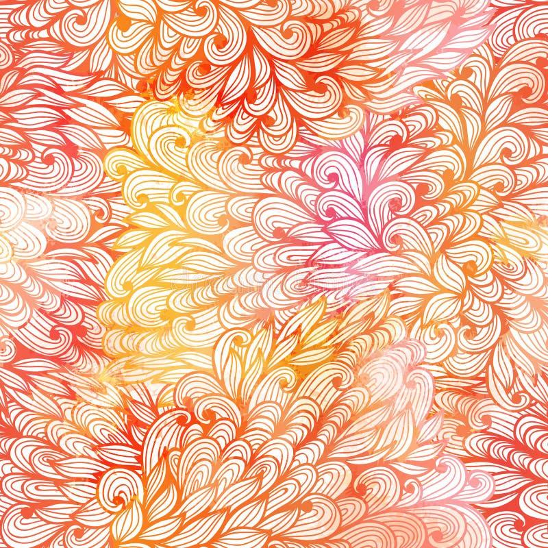 Naadloos bloemengrunge oranje en roze patroon stock illustratie