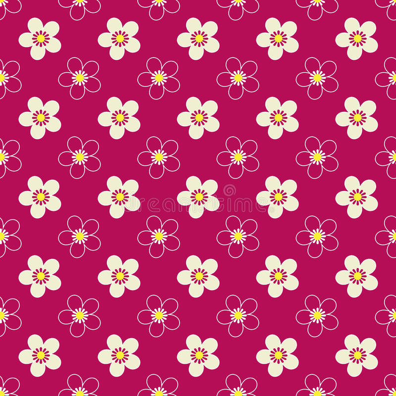 Naadloos bloemenjonge geitjes helder patroon op rood royalty-vrije illustratie