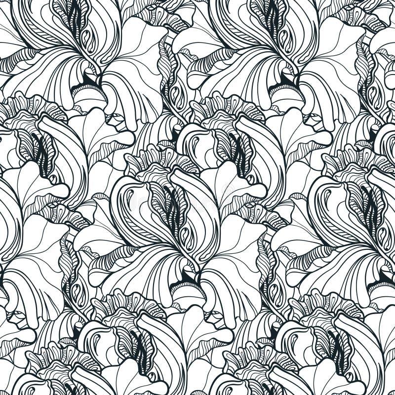 Naadloos bloemenkrabbelpatroon als achtergrond in vector met buitensporig F royalty-vrije illustratie