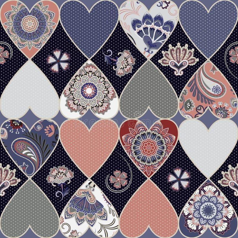 Naadloos bloemenlapwerkpatroon met harten en mandalasachtergrond Vector vector illustratie
